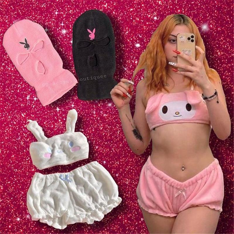 Sexy Sweet Lolita Rabbit Bra Set Women Lingerie Thin Cotton Brassiere Dog Embroidery Bras White Pink Underwear Pajama Sets