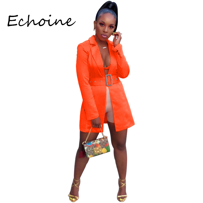 Casual Female Blazer Orange Turn Down Collar With Belt Long Sleeve Jackets Women Long Coat Office Lady Women Autumn Clothes