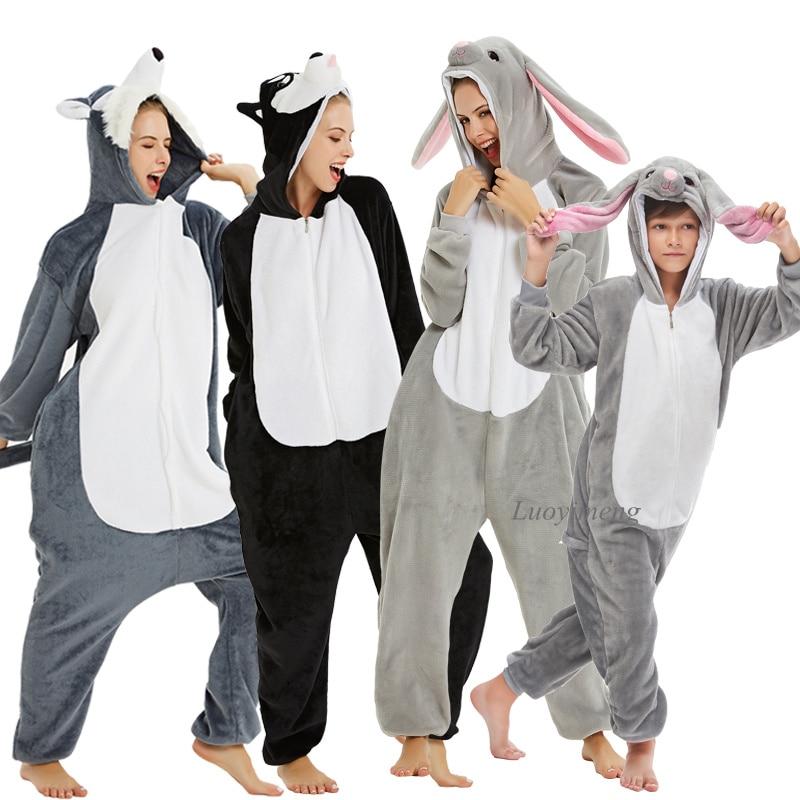 Kids Kigurumi Onesie Adults Animal Overalls Flannel Panda Rabbit Pajamas Winter Boys Sleepwear Girls Kigurumi Pijama Unicornio