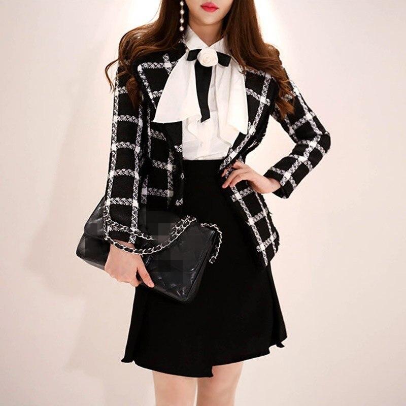 New Designer Plaid Wool Women Blazer Winter New Korean Lapel High Street Formal Business Woolen Jacket Ladies Outerwear Winter