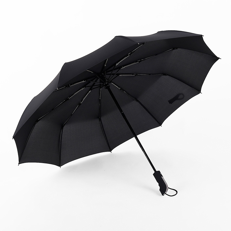 Creative Fully Automatic Tri-fold Umbrella Ultra-strength Wind-Resistant Folding shang wu san Solid Color Rain Or Shine with Umb