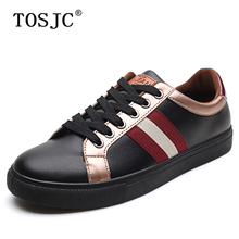 TOSJC Autumn Man Casual Shoes Fashion Skateboarding Shoes for Men's Lightweight Sneakers Lace-up Flat Shoes Striped Sport Shoes