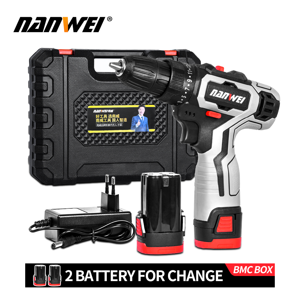 2020 new style NANWEI 12V 18V Screwdriver Mini Lithium-Ion Battery 3 8-In new color for household