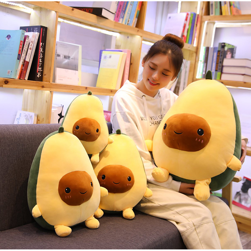 30-60CM Cute Avocado Stuffed Plush Toy Soft Baby Doll Cartoon Fruit Pillow Sofa Cushion Kids Girls Christmas Birthday Gifts