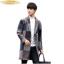 Plaid Korean Woolen Coat Men Jackets SF