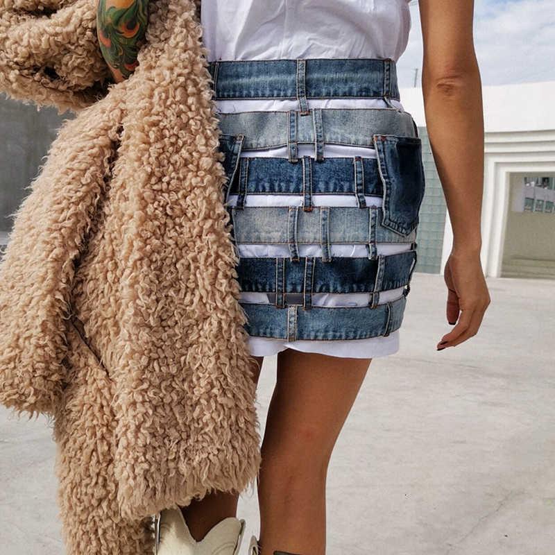 TWOTWINSTYLE Patchwork Hit Farbe Sexy Rock Frauen Hohe Taille Asymmetrische Große Größe Mini Weibliche Röcke Kleidung 2020 Mode Flut