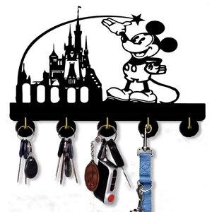 Ganchos de madera de pared Mickey, colgador de llaves autoadhesivo, gancho para llaves para cocina, dormitorio, oficina, decoración del hogar, regalo de Disney para niños