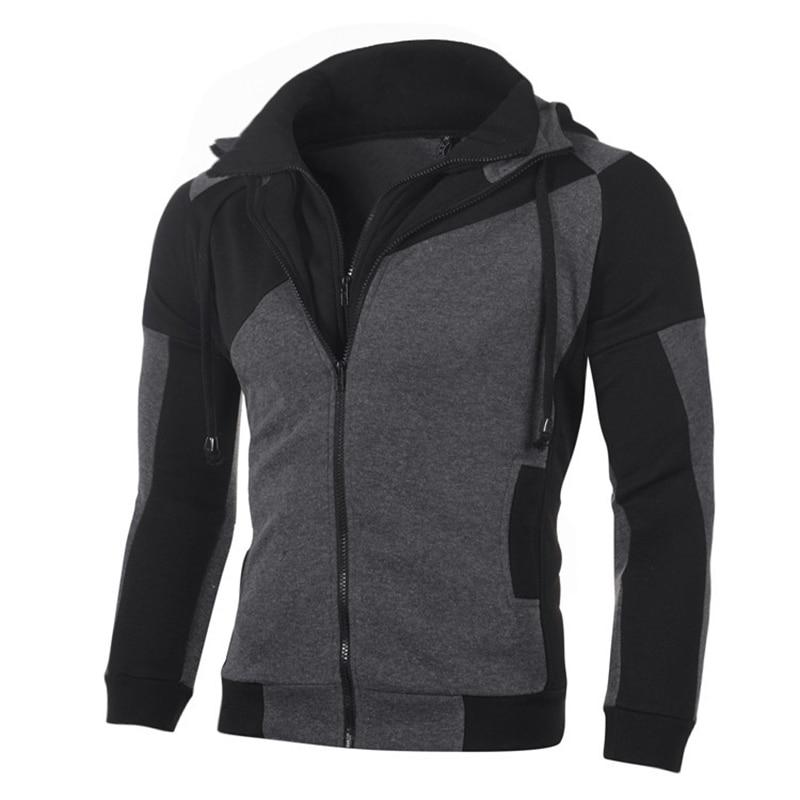 Casual Zipper Patchwork Men Hoodies Sweatshirt Long Sleeve Autumn Winter Fashion Mens Slim Hoodies