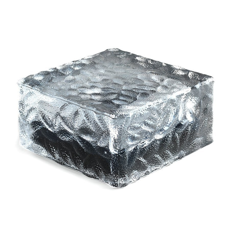 Glass Brick Paver Garden Light(1 Unit ), 4 Led, Waterproof Ice Square Rocks Solar Light For Outdoor Path Road Square Yard, Warm