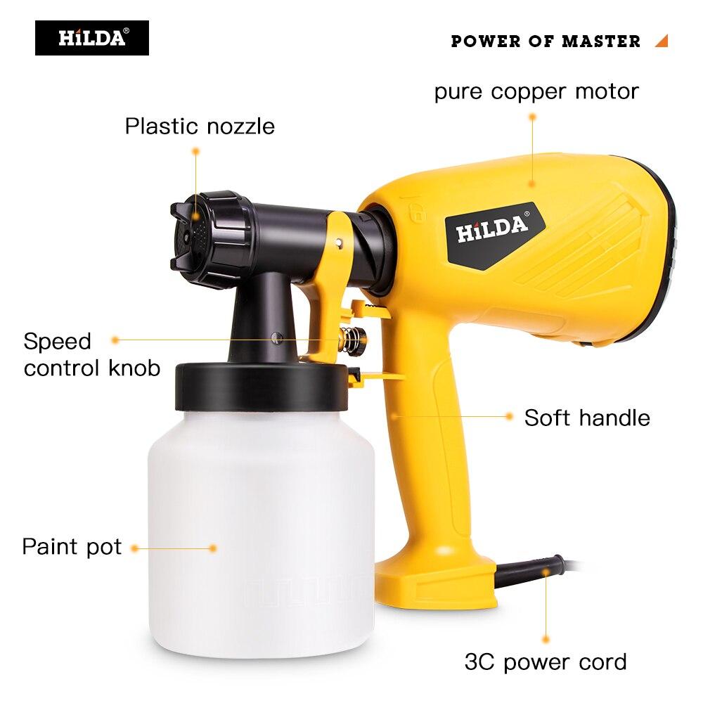 Tools : HILDA Electric Spray Gun 800ml HVLP Household Paint Sprayer Electric Airbrush Easy Spraying Cars Wood Furniture Wall Wood