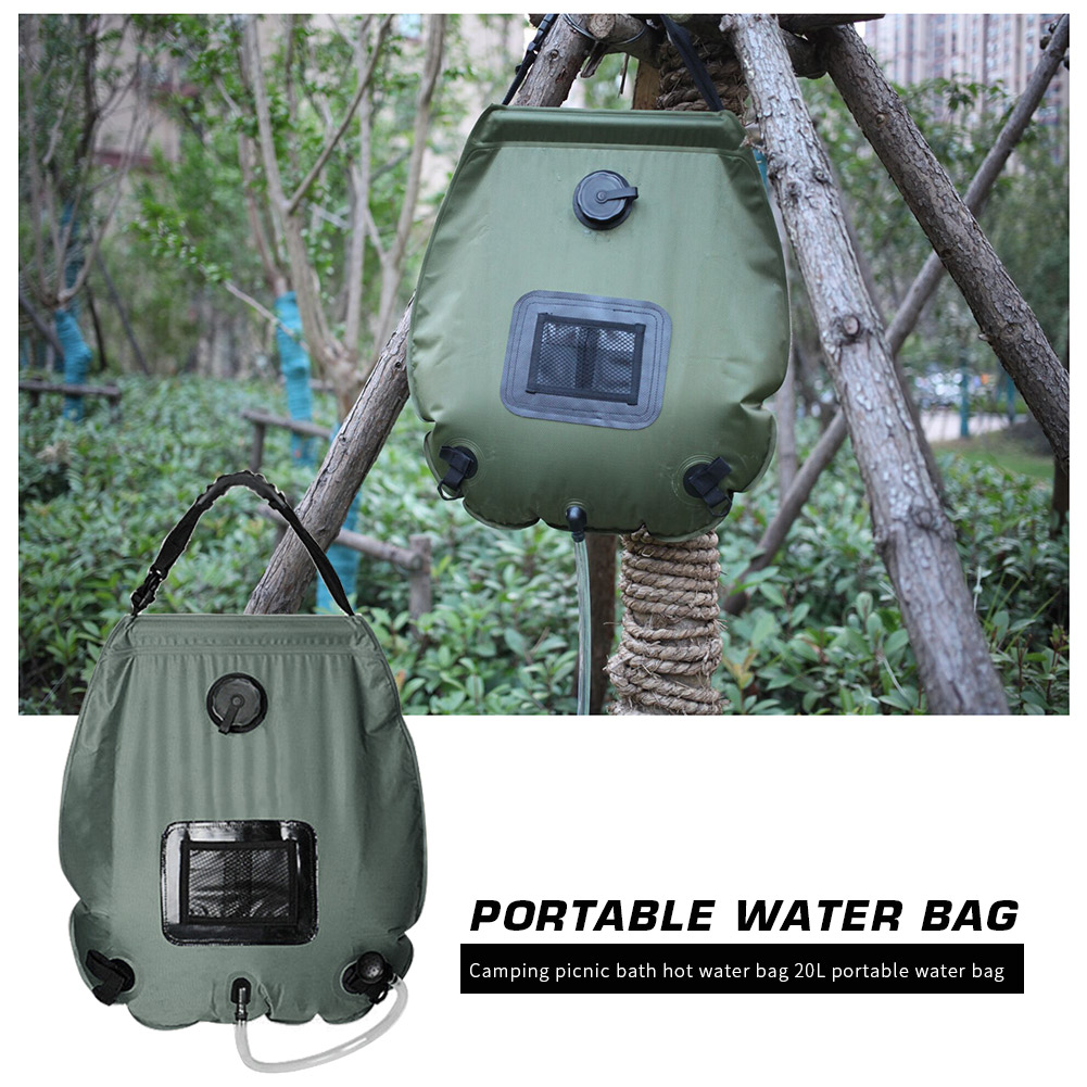 20L Solar Heated Shower Bath Bags PVC Water Storage Bags Outdoor Camping Hiking Camping Portable Outdoor Elements
