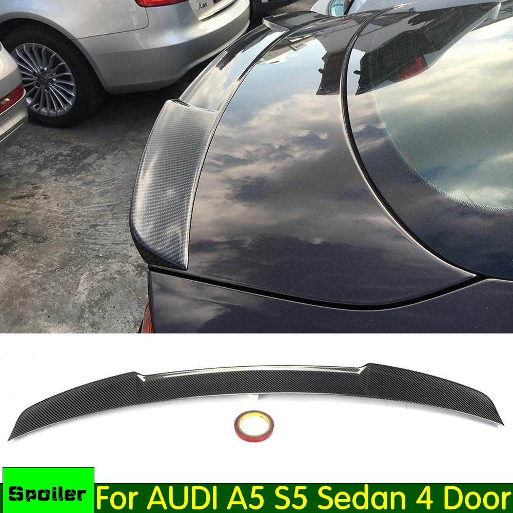 Rear Spoiler for audi A5 S5 Sedan 4 Door 2012 2013 2014 2015 2016 carbon fiber/FRP Rear Trunk Lip Spoiler Car Boot Trim Wing