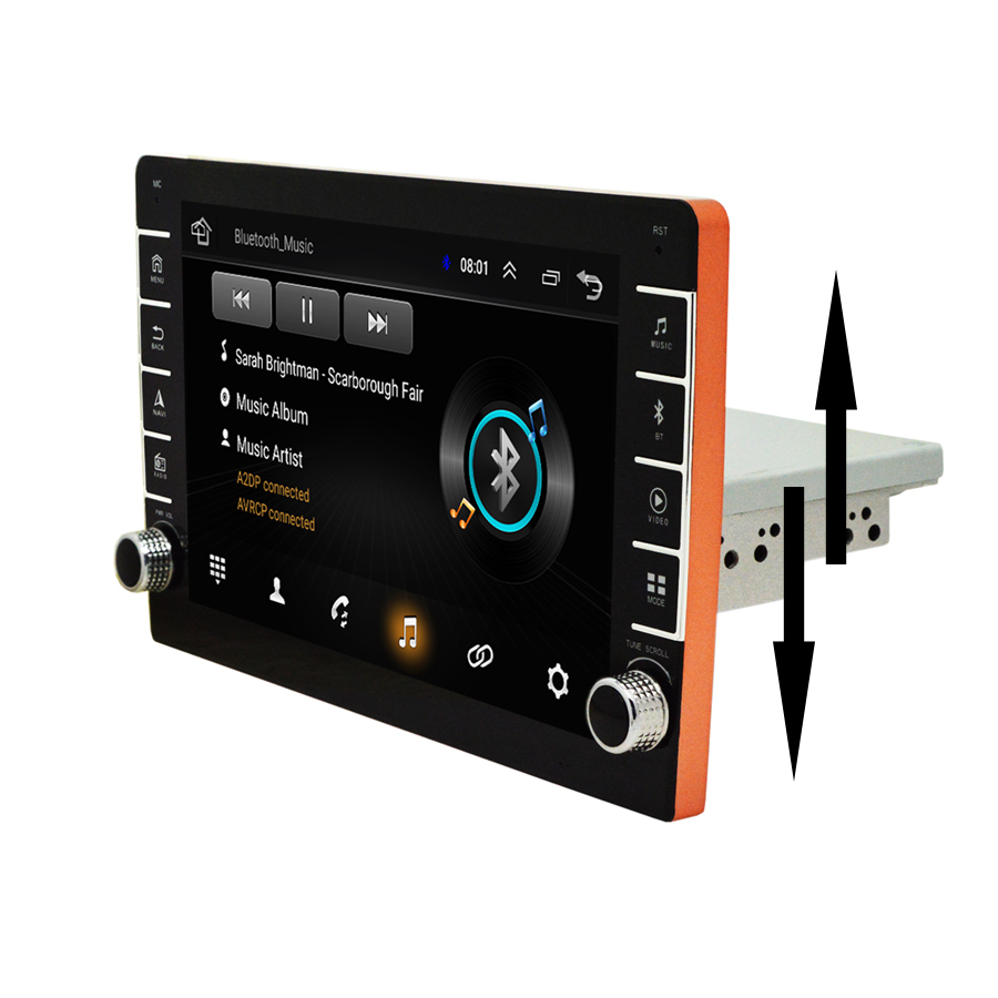"1Din Adjustable 9"" Android 8.1 1080P Touch Screen Car Stereo Radio With Button Knob Quad-core RAM 1GB ROM 16GB GPS Wifi 3G 4G"