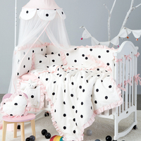 7Pcs Baby Bedding Set CottonTwo Colors Newborn Protector Washable Crib Bumper Infant Lace Duvet Cover Mattress Cover Pillow Girl