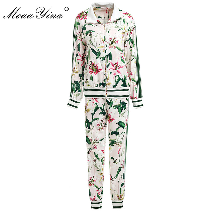 MoaaYina Fashion Designer Suit Spring Autumn Women Long Sleeve Lily Floral-Print Tops+Trousers Casual Motion Two-piece Set