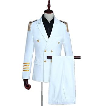Slim Fit Men Captain Uniform 2 Pieces Suit Set Wedding Party Gala Stage Show Aircraft Commander Fashion Navy White Suit Blazer