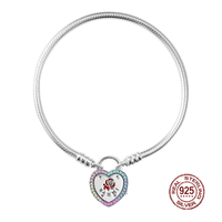 NEW 2019 Valentine's Day 100% 925 Sterling Silver Bracelet Original Design Heart shaped Rainbow stone Fit DIY Charm Bead Gift