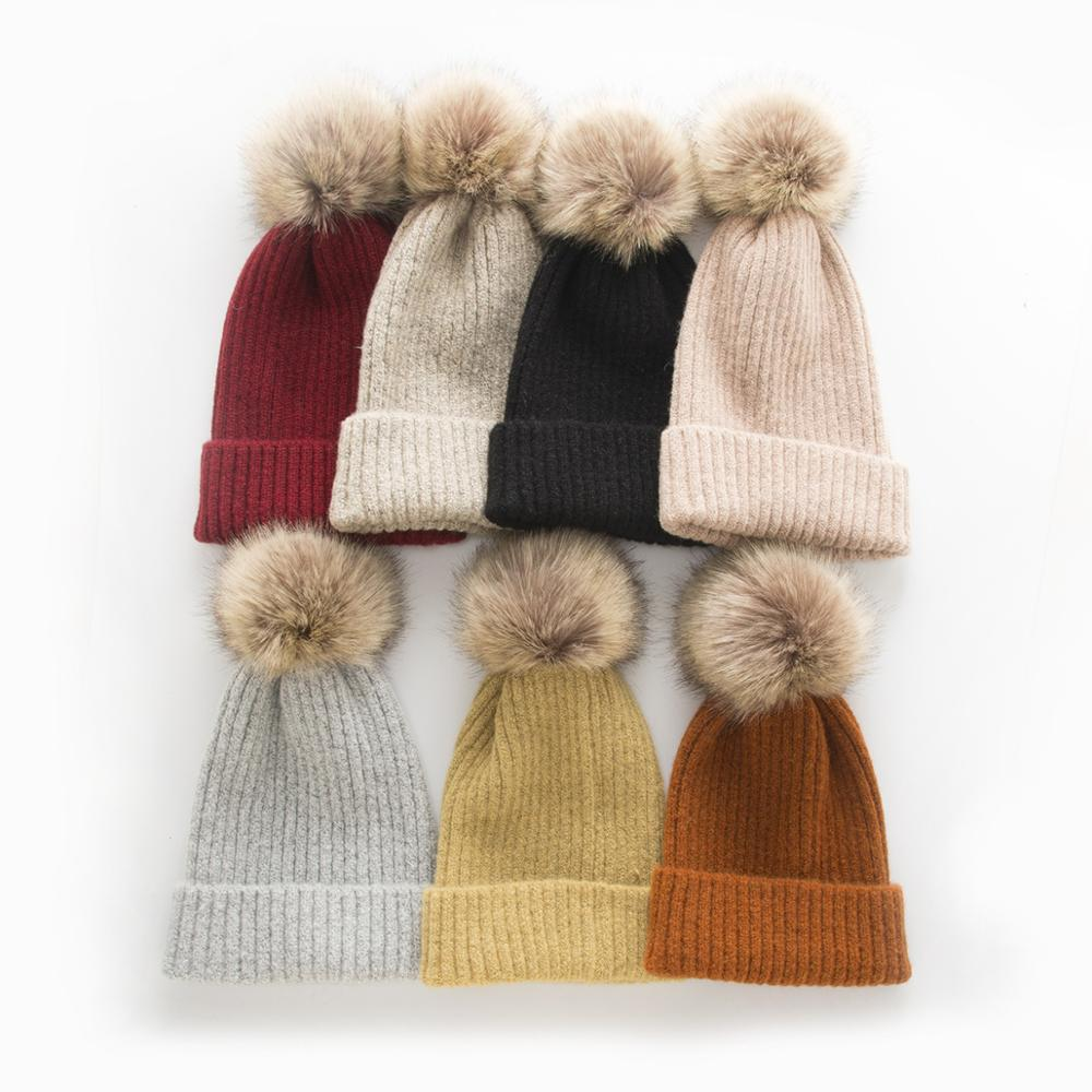 New Cute Winter Mom Women Baby Kids Crochet Knitted Caps Children Girl Boy Wool Fur Bobble Ball Pompom   Beanies   Hats