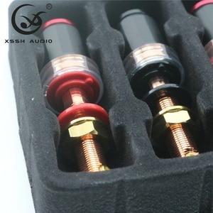 Image 3 - 4Pcs Xssh Audio Hifi Diy Real Rood Koper Elektronische Banaan Plug Vrouwelijke Socket Speaker Eindversterker Terminal Lange Binding post