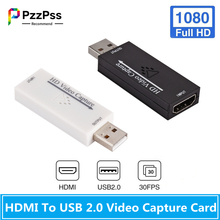 PzzPss Mini HD 1080P HDMI To USB 2.0 Video Capture Card Game Recording Box for Computer Youtube OBS Etc Live Streaming Broadcast