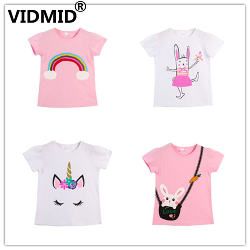 VIDMID  Children T-Shirts Cartoon Print Kids Baby Girl Tops Short Sleeve T-Shirt Children Cotton Pink T-shirts Tees 4137 01