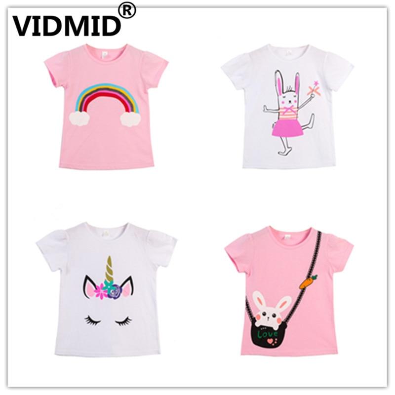 VIDMID  Children T-Shirts Cartoon Print Kids Baby Girl Tops Short Sleeve T-Shirt Children Cotton Pink T-shirts Tees 4137 01