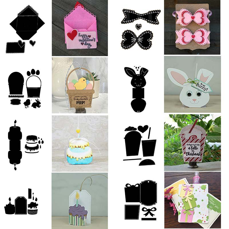 Gift Card Note Hoder Basket Tag Birthday Cake Cupcake Bow Die Cutting Dies For DIY Scrapbooking Cards Making Crafts New 2020