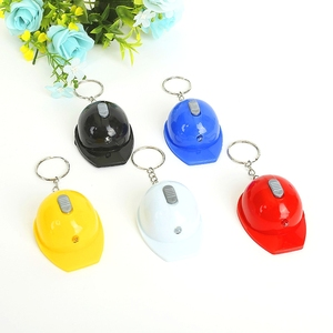 Image 1 - FREE shipping by FEDEX 100pcs/lot New LED Helmet Bottle Opener Keychains Safety Hat Keyrings with Flashlight Key Chains Gifts