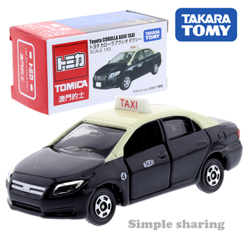 Takara Tomy Tomica Macau Black Toyota Corolla Axio Taxi Scale 1/63 Car Hot Pop Kids Toys Motor Vehicle Diecast Metal Model image
