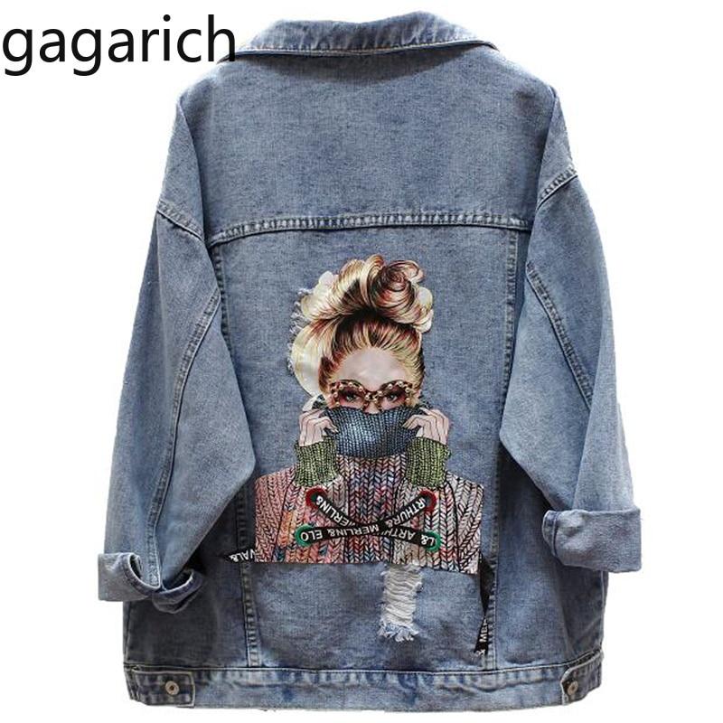 Gagarich 2020 BF Autumn Harajuku Printed Frayed Beading Denim Jacket Loose Casual Jeans Jacket Women Coat Outwear Female Jacket