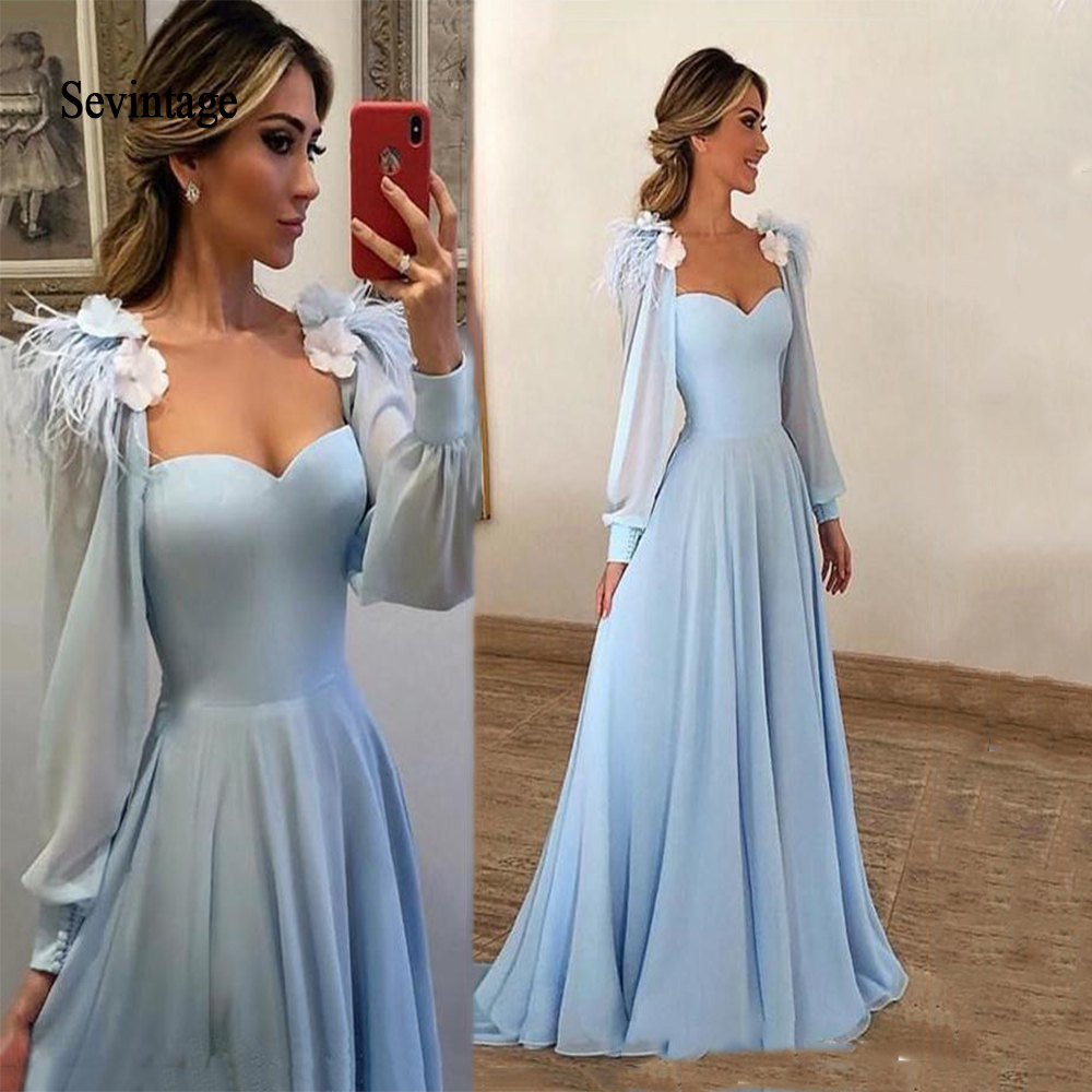 Sevintage Sky Blue Long Sleeves Prom Dresses 2020 With Flowers Feather Jacket Formal Evening Party Gowns Vestido De Festa