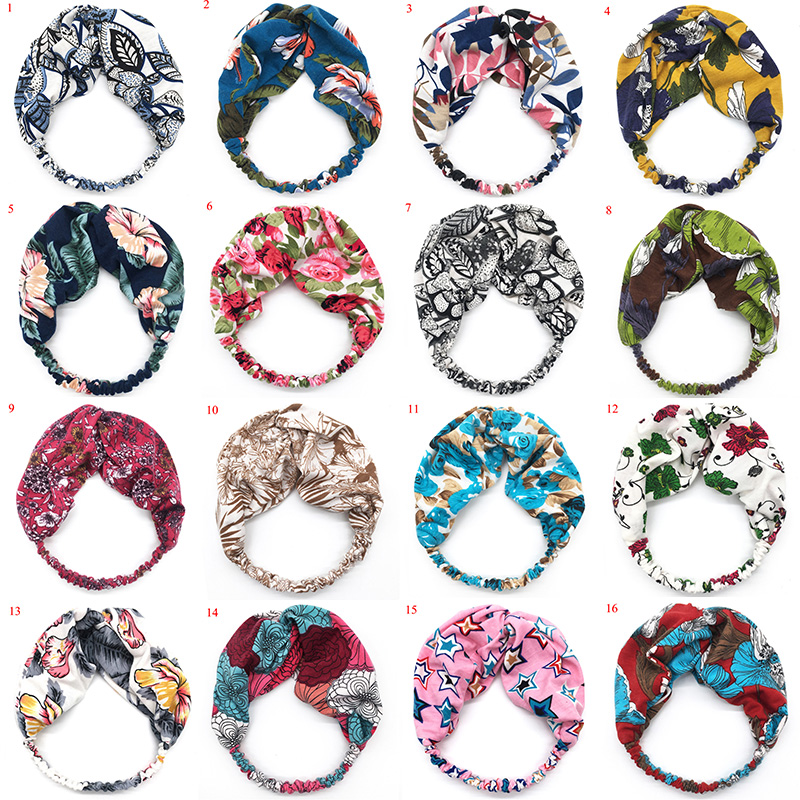 New Women's Bohemia Floral Hair Band Wide Headband Twisted Knotted Spring Summer Stretch Hairband Hair Accessories