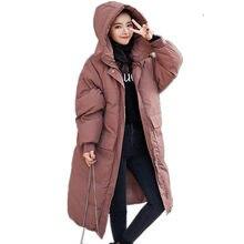 Пуховое хлопковое пальто женская зимняя парка куртка Свободная теплая утепленная Длинная зимняя куртка с капюшоном с длинным рукавом безразмерная куртка Q1927