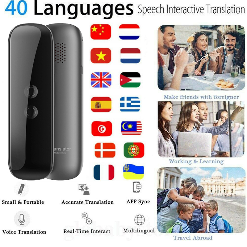 G5 Smart Voice Speech Bluetooth Wireless Translator Two-Way Real Time 40 Multi-Language Translation For Learning Travelling image