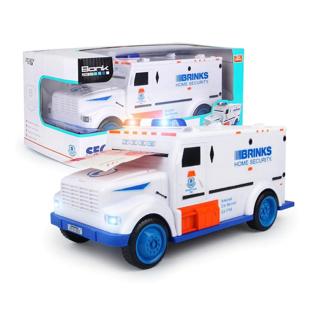 Creative Cash Truck Armored Car Design Cash Rolling Automatically Money Box Coins Piggy Bank Children Puzzle Toy