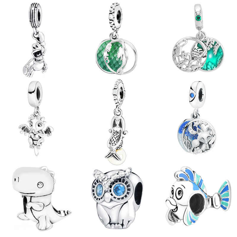 2019 New Arrival 925 Sterling Silver Beads The Little Mermaid Flounder Charms fit Original Pandora Bracelets Women DIY Jewelry(China)