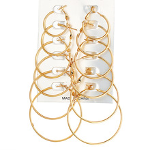 6 Pair/Set Metal Gold Silver Color Round Earrings For Women Female Exaggerated Alloy Big Earrings Set Wedding Fashion Jewelry недорого