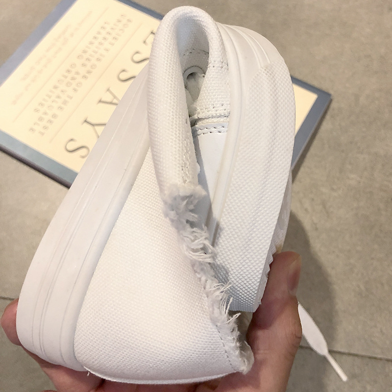 2019 Autumn New Style Canvas Shoes Women's Korean-style Harajuku Ulzzang White Shoes Retro Hong Kong Style CHIC Board Shoe