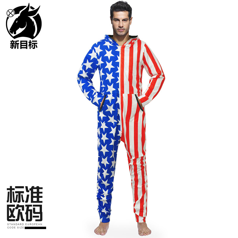 Cross Border Hot Selling 2019 Autumn And Winter New Style Stars And Stripes National Flag Printed Onesie Loose-Fit Home Fashion