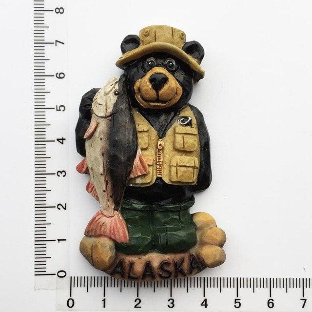 Alaskan Bear 3D Fridge Magnets Souvenir Alaska Magnetic Refrigerator Sticker Craft Resin Cartoon Animal Home Decor Gifts Ideas 2
