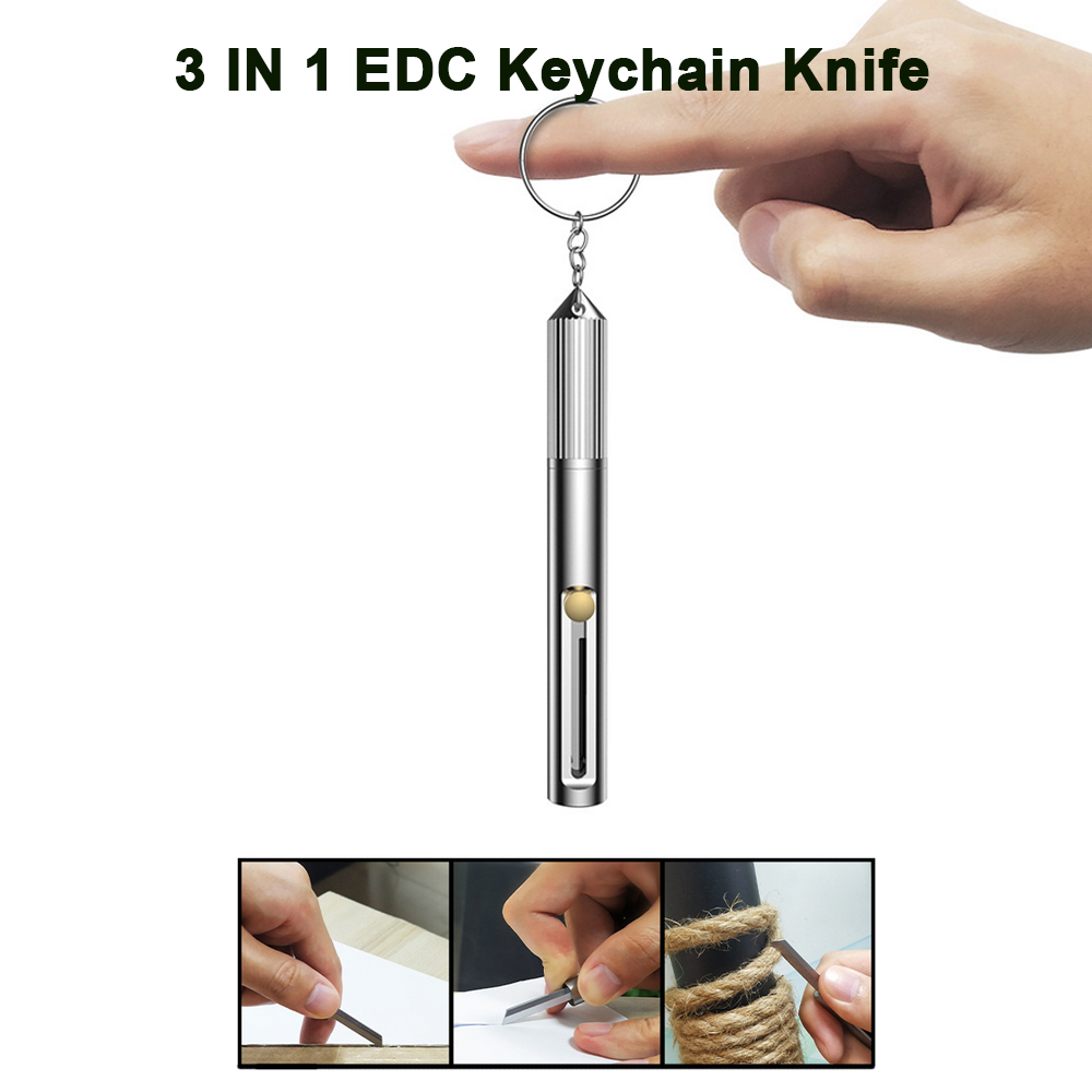 3 IN 1 Outdoor Multi-function EDC Tool Portable Keychian With Cutting Knife Whistle Personal Safety Tool Window Broken Hammer