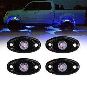 Синий 4 стручки светодиодный светильник рок набор для джипа грузовика внедорожный UTV Лодка Декоративный светильник под корпусом 12В-24В водон...