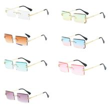 New Frameless Cut  Square Sunglasses Fashion Men and Women Small Color Sun Glasses