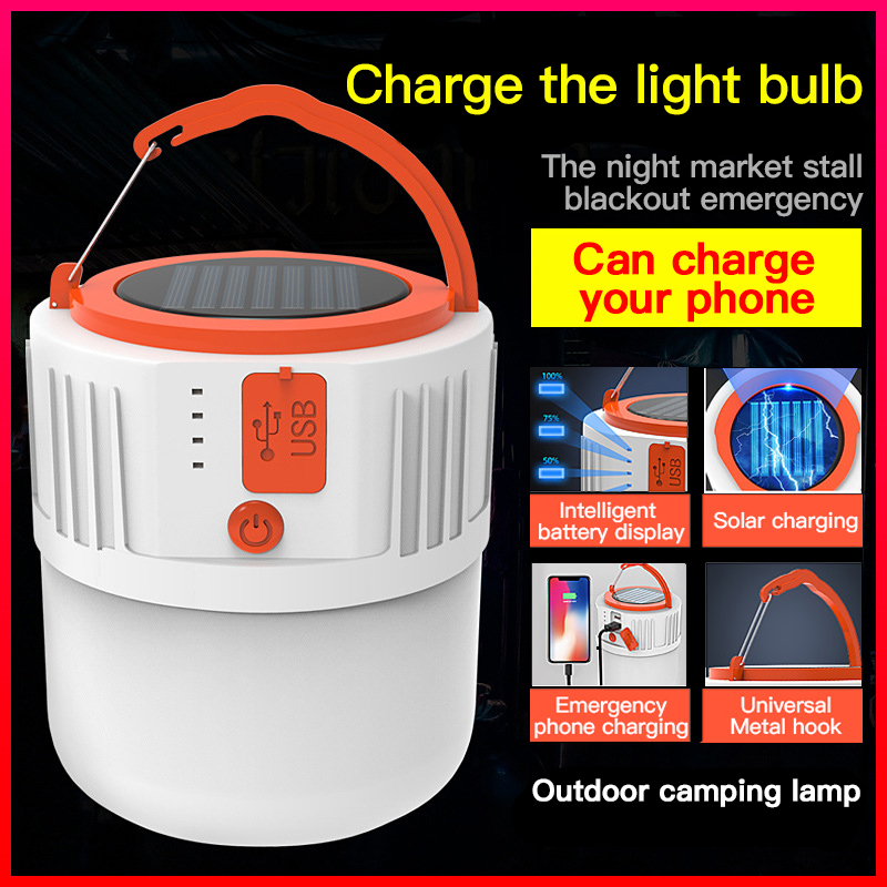 Solar Charge Camping LED Light Outdoor Home Portable Emergency Flashlight