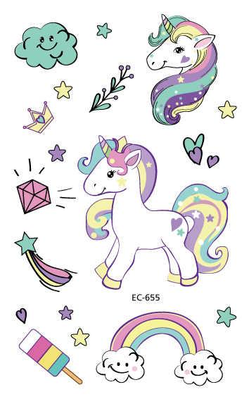 Rocooart, 1 hoja, pegatina de tatuaje temporal, Tatuaje falso colorida, unicornio, tatuaje Flash, impermeable, arte corporal pequeño para niños, 25 diseños