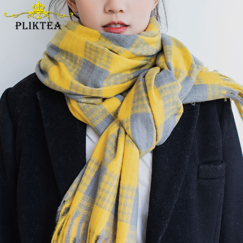 Yellow Plaid Scarves For Women Faux Cashmere Winter Shawl Warm Wool Wrap For Female Tippet 2019 Korean Ladies Scarf Pink Foulard