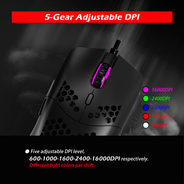 Newest 16000 DPI PMW3389 Gaming Mouse RGB Marquee Belt 7 Button Laser Mice 1.8m USB Wired Gamer Mouse For Laptop Computer PC 6