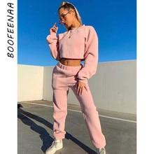 BOOFEENAA Sudadera con capucha de lana chándal trajes de mujer Otoño Invierno 2019 Casual conjunto de dos piezas ropa de entrenamiento C67-BZ74