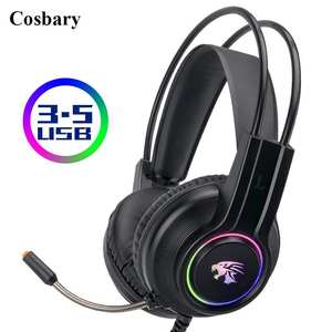 Cosbary Gaming Earphones Wired Headset Gamer Rgb-Light Stereo Computer with Mic for PC
