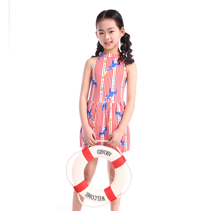 Drop Love For Water New Style Big Boy Stripes Swimming Bathing Suit Korean-style Back Hollow Out Small Clear Girls KID'S Swimwea